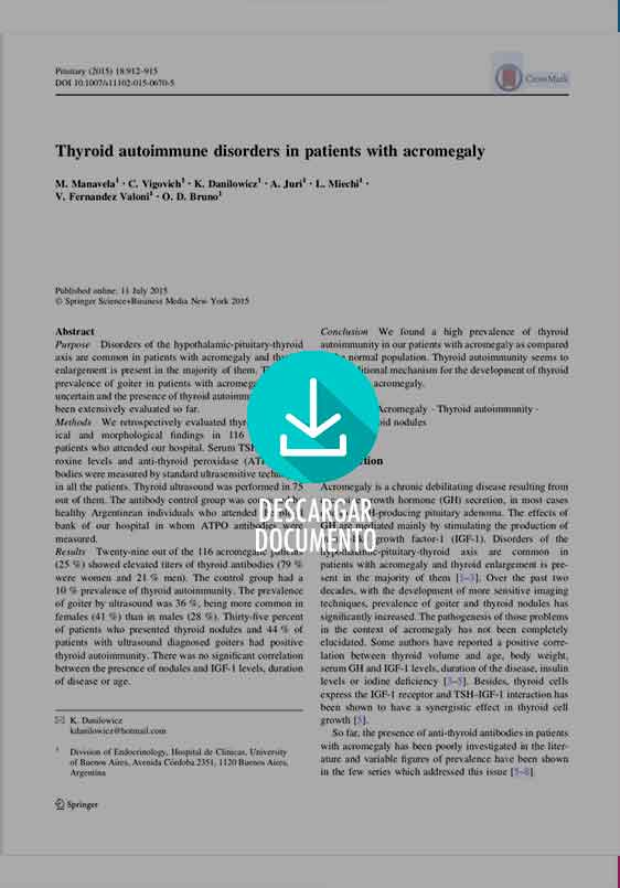 Thyroid autoimmune disorders in patients with acromegalyl